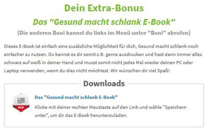 Bonus Ebook gesund macht schlank