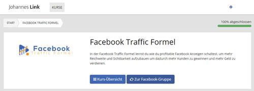 Facebook kurs mitgliederbereich johannes link bild