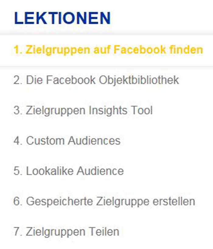 Modul Zielgruppen auf Facebook finden