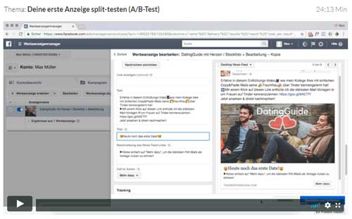 facebook ad splittesten video